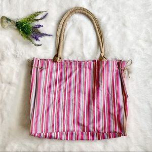 WOVEN Pink Striped Tote Bag